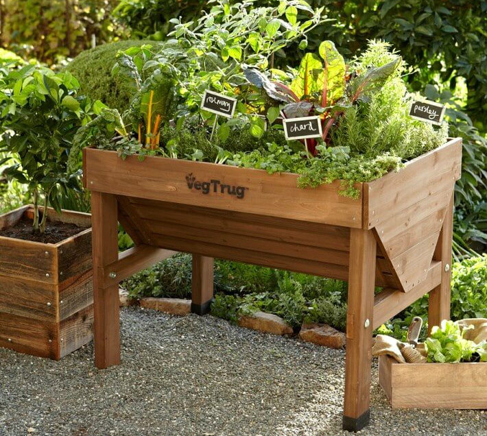 intensive vegetable gardening in a trug